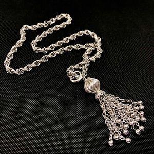 🆕Vintage Silver Tassel Pendant Necklace